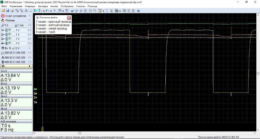 снимок экрана программы мотор-тестера, сигнал генератора